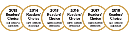 2013. 2014. 2015. 2016. 2017. 2016. Readers' Choice Best Financial Institution Awards