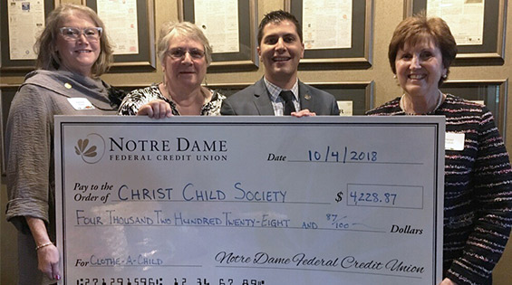 Notre Dame FCU Raises over $4,200 for Christ Child Society
